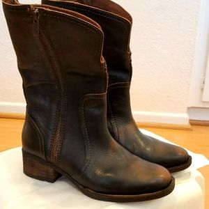 Born distressed mid calf boot
